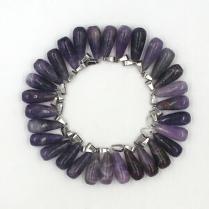Wholesale 30PCS/lot Natural amethyst stone long Water Drop charms Pendants