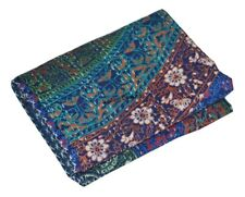 Handmade Mandala Quilt Kantha Indian Bedspread Throw Cotton Blanket Ralli Gudari
