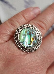 Paua Sterling Silver Ring By Gemporia Size N-O