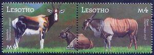Antelope, Bontebok, Common Eland, Wild Animals, Lesotho 2001 MNH 2 stamps