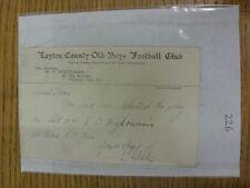 Condado de chicos Antiguo 11/02/1936 Leyton: tarjeta de selección V Antiguo highburians, como enviado a
