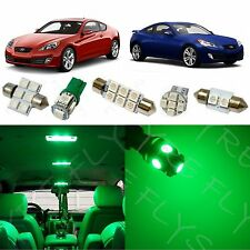 8x Green LED lights interior package kit 2010 & Up Hyundai Genesis Coupe YG1G