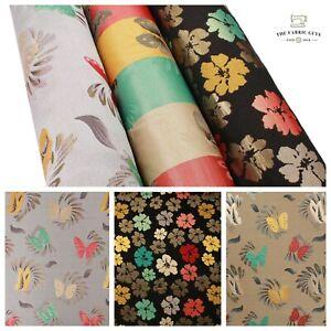 "Metallic Gold Foil Brocade Fabric , Butterfly Floral , 58"" Jackets & Waistcoats"