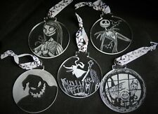 Nightmare Before Christmas ornaments, set of 5 decorations, Hand engraved, NbC