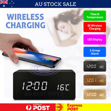 Alarm Clock with Wireless Charging Wooden Digital Bedroom Wood Electric LED AU