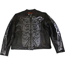 Milwaukee Leather Reflective Skeleton Motorcycle Jacket Black Mens 4XLarge