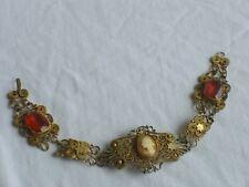Vintage CAMEO Bracelet Jewelry Filigree w/ Glass Stones (id117)