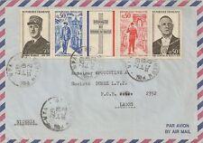LETTRE ENVELOPPE PAR AVION GENERAL DE GAULLE TOULON POUR LAGOS NIGERIA 1972