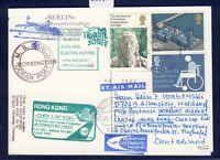 51820) LH FF Frankfurt - Hongkong 5.7.98, Karte GB / UK MS Berlin Workington