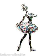 w Swarovski Crystal ~Pastel BALLERINA~ BALLET DANCER Crown Princess Girl Brooch