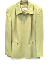 BASLER 16 FAB! Light Green Viscose PU Leather-Look Zip Jacket Dry Cleaned!
