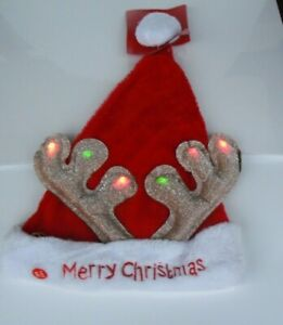 1 x Deluxe Plush Santa Hat. LED Light Up Antlers. Christmas Xmas Fancy Dress
