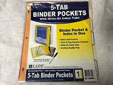C-Line Binder Pocket W/Write-On Index Tabs 9 11/16 X 11 3/16 Assorted 5/set