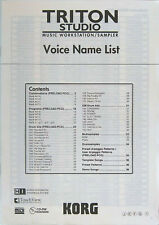 Original Korg Triton Studio Voice Name List Book, 36 Additional pages of Info.