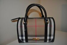 NWOT BURBERRY London House Check Bowling Satchel Bag Black Leather Trim ITALY