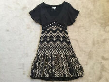 KAREN MILLEN Gorgeous Silk Black/Brown DG081 Tiger Print Dress size UK8 £160