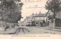 CPA 77260 LA FERTE SOUS JOUARRE Avenue de la gare café des 2 gares Edt BRINDELET