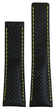 20mm Panatime Black Carbon Fiber Style Watch Band w Yell Stitch For Breitling De