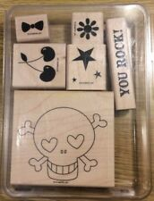 Stampin' Up! 6 Wooden Mounted Rubber Stamps Stamping Just Jawing Skull