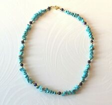 "turquoise/lapis lazuli necklace gold plated beads & clasp 19.75""(c1)"