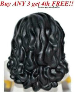 ☀️NEW Lego Minifig Hair Female Girl Black Long Wavy Friends minifigure