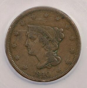 1840-P 1840 Braided Hair Cent Large Date 1c ICG VF20