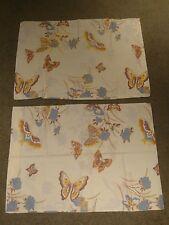 Set of 2 Vtg Butterflies in the Garden  Pillowcases Martex Blue Brown