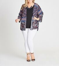 Autograph Blue Ladies Loose Fitting Paisley Kimono Jacket - 3/4 Sleeve Sizes 16