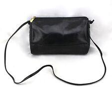 PORTOFINO Vintage Black Croc Embossed Leather Zipper Crossbody Shoulder Bag