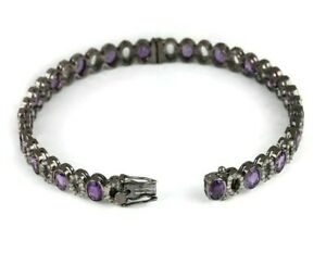Natural Rose Cut Diamond Amethyst Gemstone Jewelry Oxidized Hole Bangles Jewelry