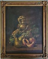 Antique Oil Painting on Canvas Still Life Fruit Framed