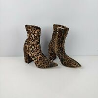 WOMENS PRETTYLITTLETHING LEOPARD PRINT ZIP UP HEELED ANKLE BOOTS UK 3 EU 36
