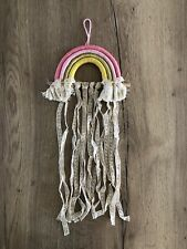 Macrame Rainbow Wall Hanging Kids Room Hair Accessories Organizer