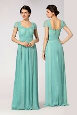$388 BCBG MAX AZRIA Aris Pleated  Long Evening  Dress in Green  SZ 0