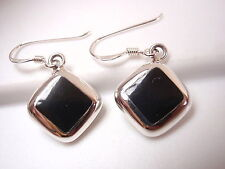 Reversible Black Onyx and Cream Mother of Pearl 925 Sterling Silver Earrings
