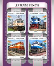 Niger 2017 MNH Indian Trains 4v M/S Trains Railways Rail Stamps