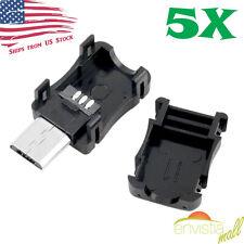 5pcs Micro USB 5 Pin T Port Male Plug Socket Connector and Plastic Covers DIY US