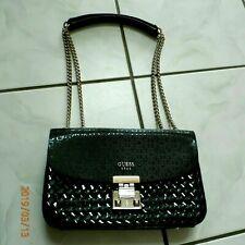 Guess Handbag Purse In Black Women's Sturdy Gold Chain Straps