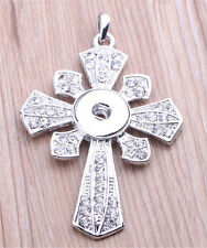 NEW Cross Crystal Alloy Pendant for Fit Noosa Necklace Snap Chunk Button #R75
