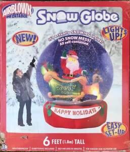 Christmas Snow Globe Santa Sleigh Reindeer Inflatable light up / Gemmy 2005