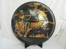 """Egyptian Brass Wall Decor Plate Black Hand Etched King Ramses 15.5"""""""