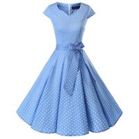 Women Vintage 50s V-Neck Cap Sleeve Cocktail Party Retro Rockabilly Swing Dress