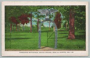 LaFayette Indiana~Battle Ground~Tippecanoe Battlefield~Open Gate~Vintage Postcar