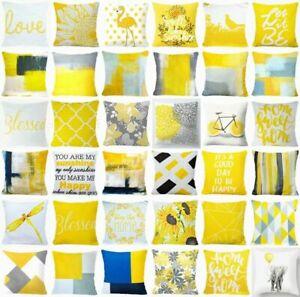 "Yellow Throw PILLOW COVER Home Decor Gray White Decorative Cushion Case 18x18"""