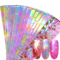 Pink Flower Nail Foil Manicure Decor Holographic Starry Nail Art Stickers