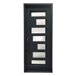 "ALEKO Iron Square Top Minimalist Door with Frame Threshold 40""x96"" Matte Black"