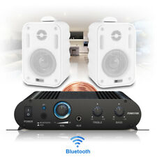 Wall Mount Speakers and Stereo Amplifier Hifi Music System with Bluetooth Audio