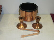 Vintage Set of Copper Craft Ice Cube Bucket & Pair Candle Holders VFC
