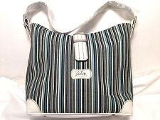 Slouch Handbag Stripe Purse WHITE Leather Trim Shoulder Bag Longaberger
