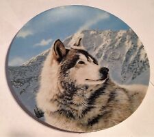 """Wolf / Wolves Bradex Collector Plate, 1992, Wild Spirits """"Solitary Watch"""""""